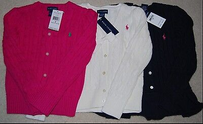 NWT RALPH LAUREN POLO Girl's 5 6 Button Up Cable Knit Sweater Navy Pink Cream
