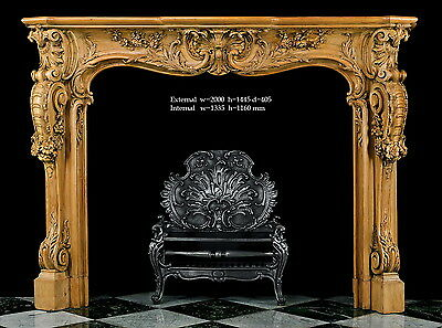 Fireplace Louis XV style 18th century rococo wood carved reproduction