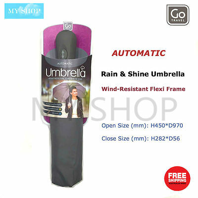 Go Travel Automatic Umbrella for Rain and Shine, Wind-Resistant Flexi Frame-Grey