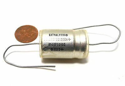 SPRAGUE Extralytic Aluminum Capacitor 850uf MFD 10V NOS Axial Tube Amp Tested
