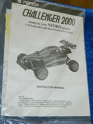 vintage PANDA CHALLENGER 2000 CAR manuel INSTRUCTION MANUAL nitro power RC BUGGY