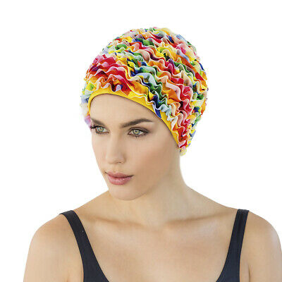 Fashy Frilly Swimming Hat Fabric Hat With Plastic Lining