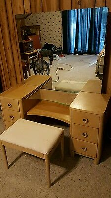 Mid Century Modern Vanity Mirror and Stool Made By Mengel
