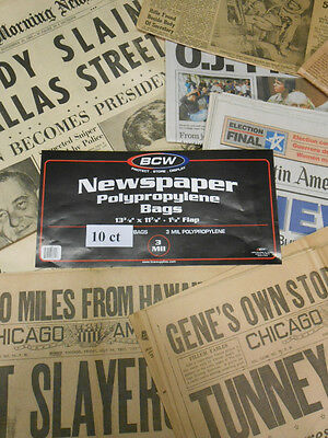 New!  Acid Free Newspaper Sleeves Archival Bags 10ct  Free Shipping!