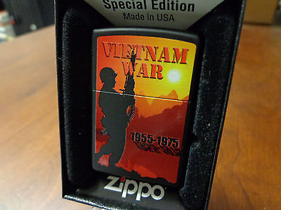 Vietnam War 1955-1975 Black Matte Zippo Lighter Mint In Box