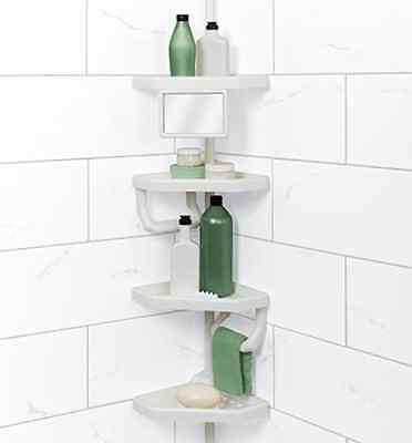 Corner Tension Pole Caddy Rack Holder Shelf Shower Bathtub Bathroom  Organizer. Corner Tension Pole Caddy Rack Holder Shelf Shower Bathtub