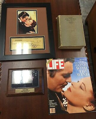 Gone With the Wind Lot of 4 Collectibles, Book, LIfe, & 2 Framed Items W/ Pics