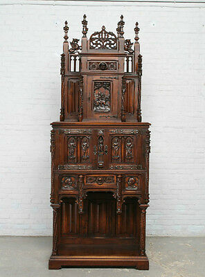 Antique Gothic Cabinet French Renaissance 19th Century Wonderful Carved Art