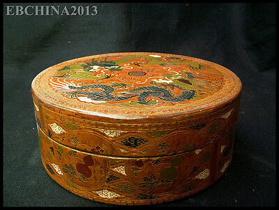 "9 ""Old China Antique Lacquerware Wood Dragon Flower Painting Box Jewelry Box"