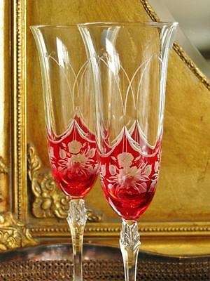 "Pair of Beautiful Bohemia Royal Crystal ""Petite Fleur"" Champagne flutes. NEW"