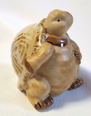"""Turtle Figurine Ceramic Brown Happy Smiling Fat Belly Walking Upright 3"""""""