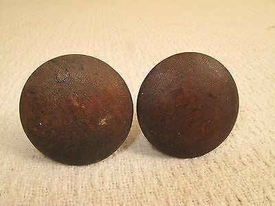 "Pair Antique Mahogany Wood Drawer Pulls Knobs 1 3/4"" D Empire 1880 Gg20 Pine"