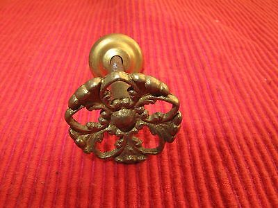 "Antique Shiny Brass Ornate Intricate Victorian Drawer Pull Knob 1 1/4"" D D3"