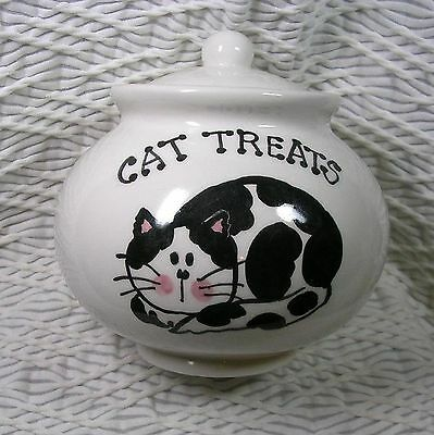 Black & White Laying Cat Treat Jar with Lid Ceramic Handmade by Grace Smith