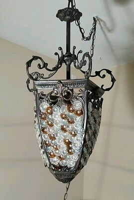 Murano Glass Chandelier Antique Basket Czech Art Nouveau Lamp Light Fixture VTG