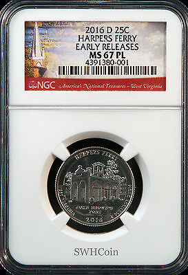 2016 5oz SILVER 25C Harpers Ferry NGC MS 69PL Early Releases must see!