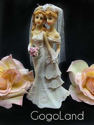 Lesbian Couple Wedding Cake Toppers Bride and Bride Couple Figurine Cake Topper