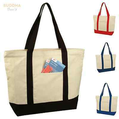 1 DOZEN LARGE Zippered Cotton Canvas Grocery Shopping Tote Bags WHOLESALE BULK