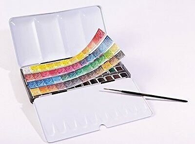 Sennelier - French Watercolour Metal Set Of 48 Half Pans