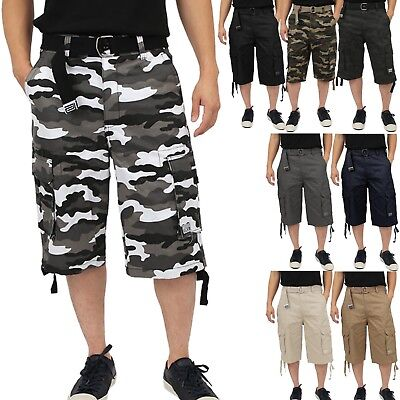 Proclub TWILL CARGO SHORTS Casual Pants Mens Authentic Classic Multi Pockets
