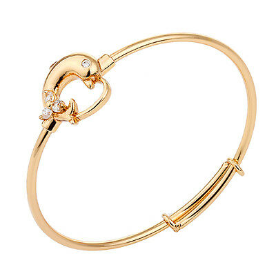 18K Yellow Gold Filled Cuff Bangle Dolphin Mini CZ For Toddler Baby Jewellery