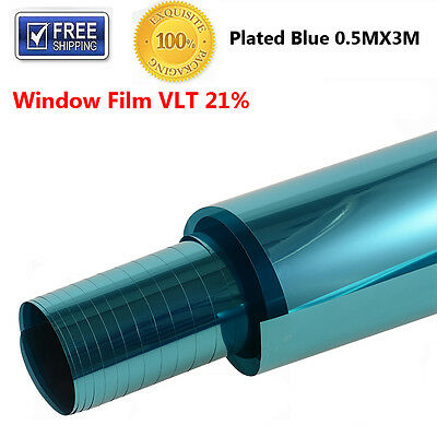 1x Window Tint Film Plated Blue 500mm 3m Roll 500cm x 3m 20% VLT Auto House