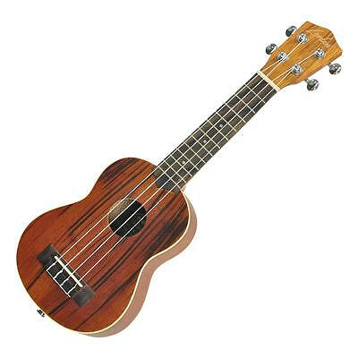 New Lorden Zebrawood Electric Soprano Ukulele with Uke Bag