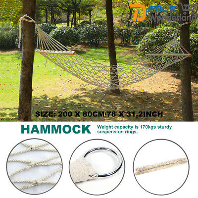Hammock Single Strong Cotton Rope Swinging Outdoor Camping Backyard Patio Chair