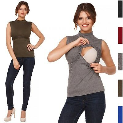 Happy Mama. Women's Nursing Double Layered Top Turtle Neckline Sleeveless. 986p