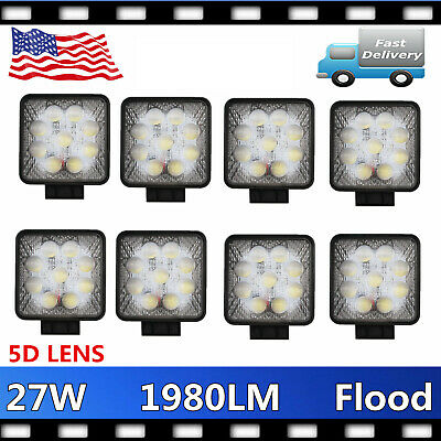 2X 3'' 24W CREE LED Work Light Flood Lamp Cube Pod Offroad 4WD Driving Truck SUV