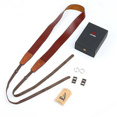 CANPIS Leather Camera Shoulder Neck Strap for Canon Nikon Sony Fuji DSLR