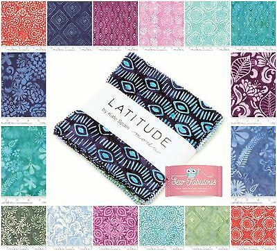 "Moda Charm pack 42 of 5"" 100% Cotton Fabric squares in Gorgeous Latitude Batiks"