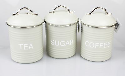 Tea Coffee & Sugar Canister Set in Vintage Olive Colour Retro Kitchen Storage
