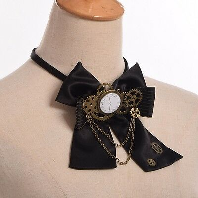 Gothic Gear Bowknot Bowtie Lady Industrial Victorian Lolita Costume Accessory