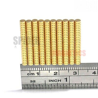 Tiny magnets 3x1 mm N52 neodymium disc GOLD plated craft jewellery 3mm dia x 1mm