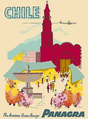 Chile by Airplane South America Panagra Vintage Travel Advertisement Art Poster