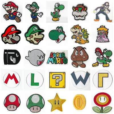 Super Mario Brothers Patches Embroidered Iron on Badges Nintendo Aufnäher Toppa