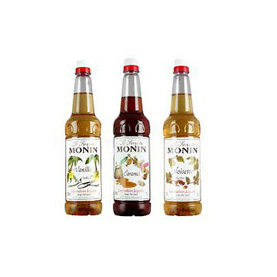 4 x1 ltr Monin flavoured Coffee Syrups plastic bottles All Flavours!