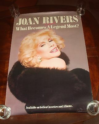 """Rare JOAN RIVERS """"What Becomes A Legend Most?"""" 1983 GEFFEN RECORDS PROMO POSTER"""