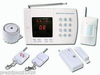 Kit Antifurto Allarme Casa Wireless Digitale Display Sirena Doppio Telecomando