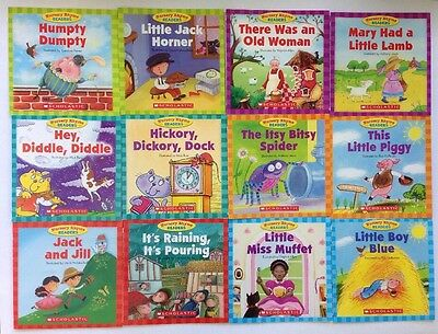 Nursery Rhyme Childrens Books Set Readers Lot 12 Bonus Full Size Teaching Guide