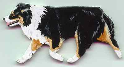 Trotting AUSTRALIAN SHEPHERD Wooden Dog PIN - black-tri - Hand Crafted!