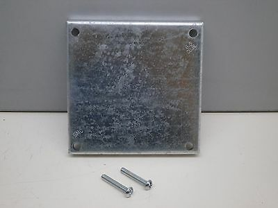 """(6) Bowers 449-BW 4"""" Square Surface Blank Cover 1/2"""" Raised Galvanized Steel"""
