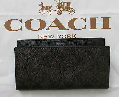 Authentic Coach Coated Canvas brown black Checkbook Holder w/ pen loop