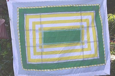 "Vintage Cotton Tablecloth 52"" X 66"" Green Gray And White Print For  Crafts"
