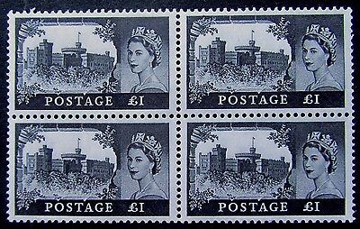 Great Britain SG 598a Scott 374 mint OG NH QEII 1963 £1 BW printing BLOCK OF 4