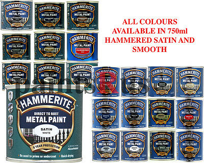 Hammerite Direct To Rust Smooth, Hammered & Satin Paint 750ml FAST Free P&P !!
