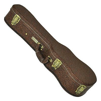 New Tiki Deluxe Brown Paisley Concert Uke Ukulele Hard Case