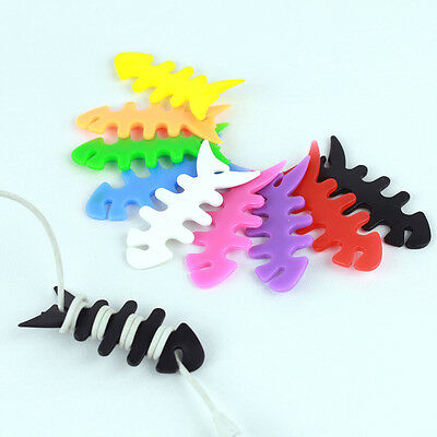 10x Mini Silicon FishBone Earbud Headphone Cord Wire Cables Wrap Winders Holders