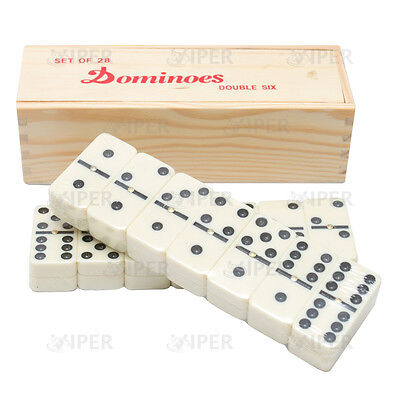 VIPER  Double Six Dominoes with Spinners in Wood Box with Slide Lid